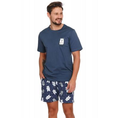 Мужская хлопковая пижама с принтом в виде мишек