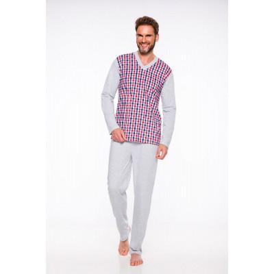 Мужская хлопковая пижама Roman с клетчатым лонгсливом