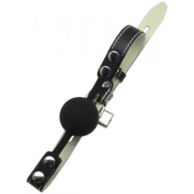 Черный силиконовый кляп с фиксацией и замочком