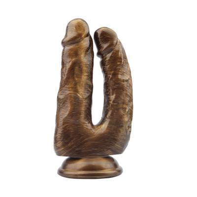 Золотистый анально-вагинальный фаллоимитатор Dick Cumming - 18 см.