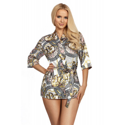 Короткий атласный халатик Donatella с фантазийным узором