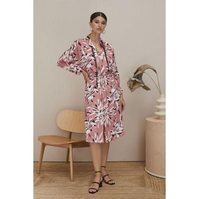 Платье на пуговках с цветочным принтом