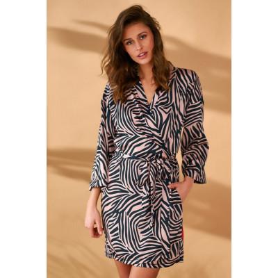 Элегантный халат-кимоно с принтом зебры