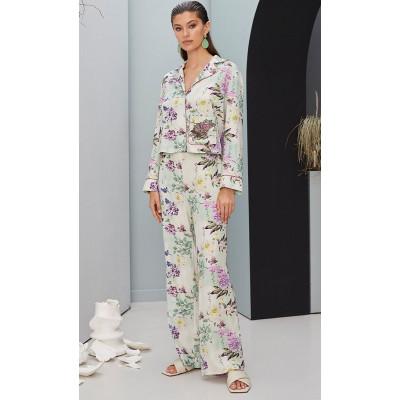 Удобные домашние брюки с цветочным принтом