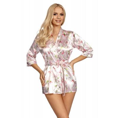 Короткий атласный халатик Donatella с цветочным принтом