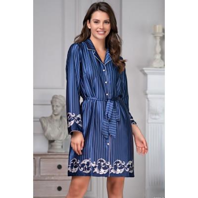 Домашнее платье-рубашка на пуговках с поясом